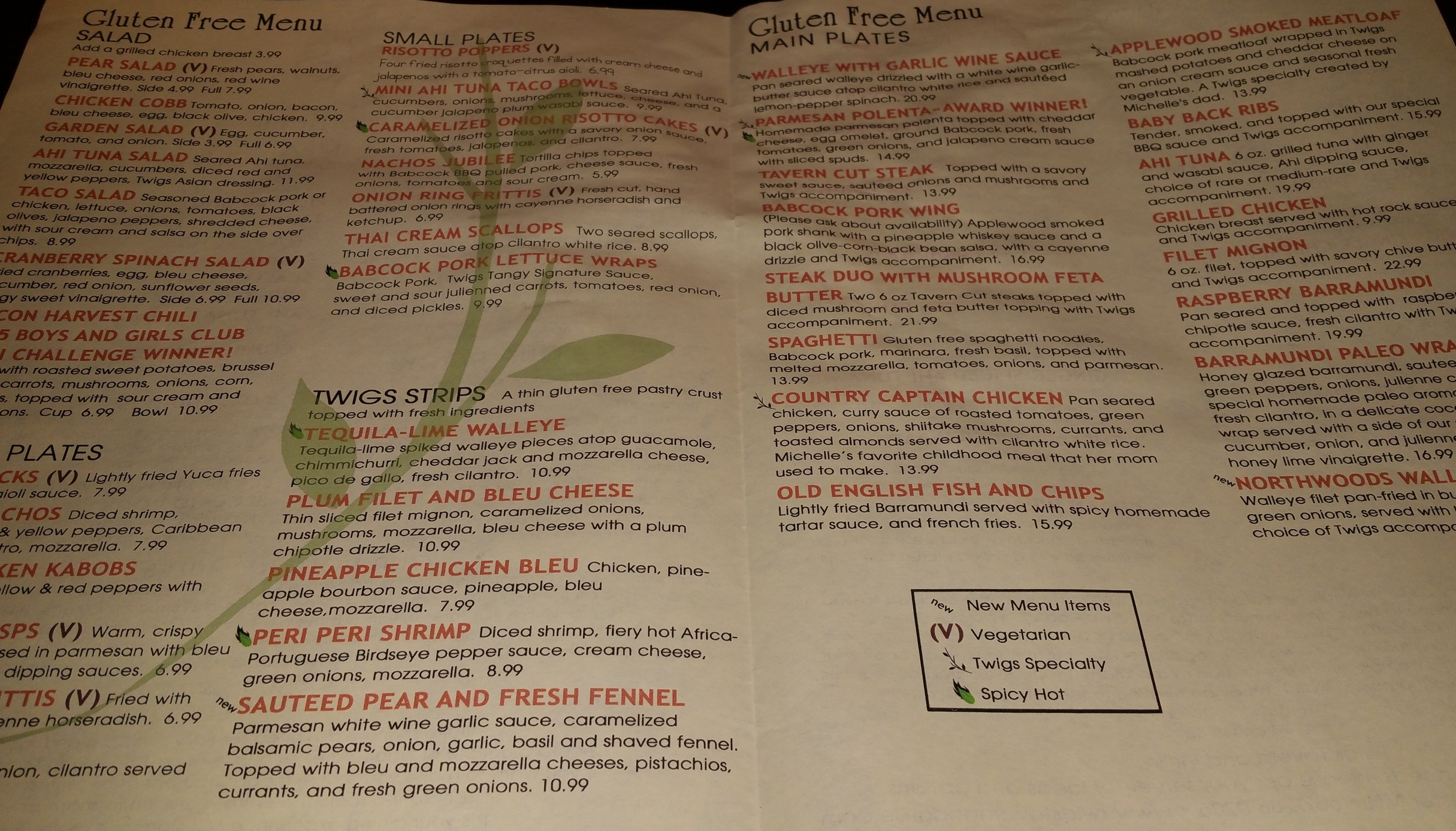 Twigs Gluten Free Menu